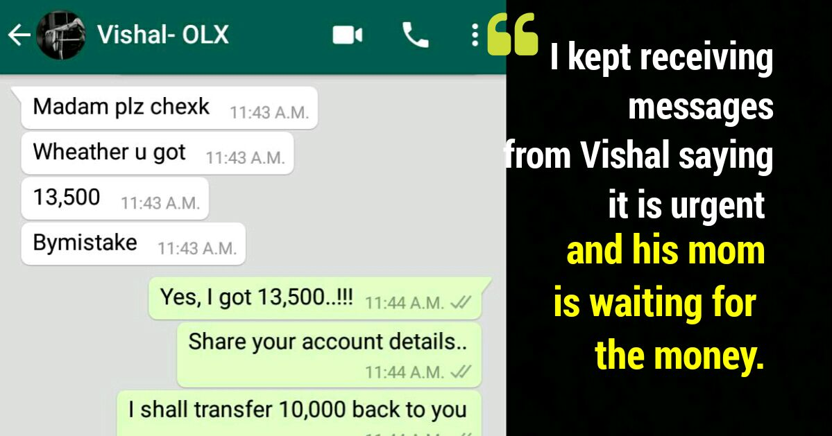 How this girl escaped OLX Fraudster is a lesson we all should learn !